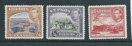 Cyprus 1938 KGVI Definitives 1/4 3/4 & 1.5 Piastre Fine MLH - Cyprus (Republic)
