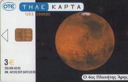 TARJETA TELEFONICA DE GRECIA. Planetarium And Space. Planetarium 3, At The Surface Of Mars X1595a (024) - Espacio