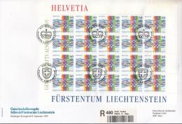 LIECHTENSTEIN 1115, Kleinbogen FDC, Mit ESST CH + FL, Schweizerisch-liechtensteinische Nachbarschaft 1995 - Blocks & Sheetlets & Panes