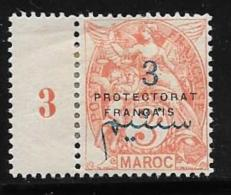 French Morocco, Scott # 40 Mint Hinged With  Millesimes #3 France Stamp Surcharged And Overprinted, 1914 - Morocco (1891-1956)