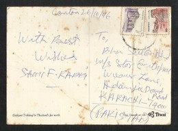 Pakistan Postal Used With Stamps Thailand  Picture Postcard - Pakistan