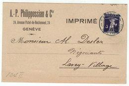 Suisse // Schweiz // Switzerland // 1907-1939 // Carte Publicitaire Et Commerciale  Au Départ De Genève - Suisse