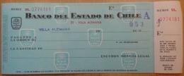 CHEQUE BANCO DEL ESTADO DE CHILE - Cheques & Traveler's Cheques