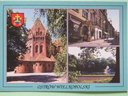 "Poland 1999 Postcard """"Ostrow Wielkopolski Arms Church Fountain"""" To England - Country Estates Oblegorku - Zodiac Sagitt - Poland"