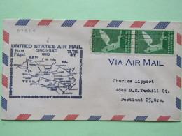 USA 1948 First Flight Cover Cincinnati (Wilmington Back Cancel) To Portland - Everglades Egret Bird - Map - Etats-Unis