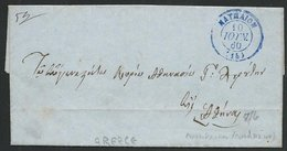 GREECE 1860 Prestamp Entire NAUPLIA Cds In Blue............................66434 - Greece