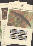 1989  WWF Czechoslovian Amphibians Frogs, Toads, Newts  Set Of 4 MNH - W.W.F.