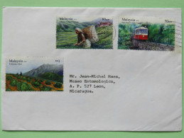 Malaysia 2011 Cover To Nicaragua - Tram Tramway Train Tea Picking Cabbage Agriculture - Malesia (1964-...)