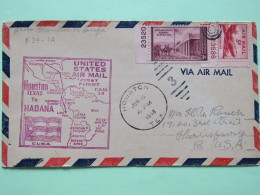 USA 1948 First Flight Cover Houston (La Habana Cuba Back Cancel) To Harrisburg - Map - Plane - Plate Nummer - Stephen Wa - Etats-Unis