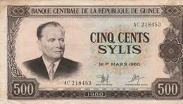 BILLET DE BANQUE...GUINEE   500  SYLIS - Guinea