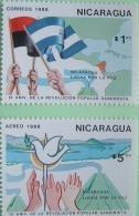 Nicaragua 1988 Sandinista Revolution 9th Anniversary - Flag Hands With Peace Dove Bird - Volcanoes - Nicaragua