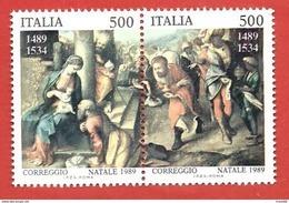 ITALIA REPUBBLICA MNH - 1989 - Natale - Adorazione Dei Magi - Correggio - £ 500 X 2 - S. 1884 1885 - 6. 1946-.. Repubblica