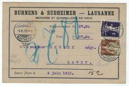 Suisse // Schweiz // Switzerland // 1907-1939 // Carte Publicitaire Et Commerciale  Au Départ De Lausanne - Lettres & Documents
