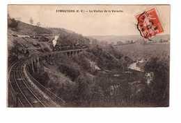 Train Chemin De Fer Locomotive à Vapeur Sur Viaduc De La Varache à Eymoutiers Cpa Cachet 1912 - Trains