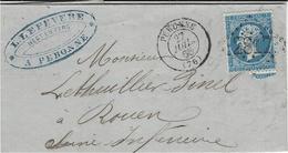 1865- Env. De Peronne ( Somme ) Cad T15 Affr.  N° 22 Oblit. G C 2817 ( Chiffres Refaits ) - Poststempel (Briefe)