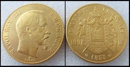 COPIE - 1 Pièce Plaquée OR Sous Capsule ! ( GOLD Plated Coin ) - France - 100 Francs Napoléon III Tête Nue 1855 BB - France