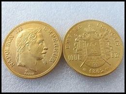 COPIE - 1 Pièce Plaquée OR Sous Capsule ! ( GOLD Plated Coin ) - France - 100 Francs Napoléon III Tête Laurée 1862 BB - France