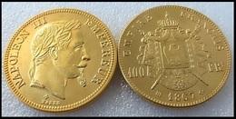 COPIE - 1 Pièce Plaquée OR Sous Capsule ! ( GOLD Plated Coin ) - France - 100 Francs Napoléon III Tête Laurée 1867 BB - France