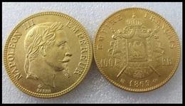 COPIE - 1 Pièce Plaquée OR Sous Capsule ! ( GOLD Plated Coin ) - France - 100 Francs Napoléon III Tête Laurée 1869 BB - France