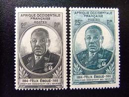 AFRICA OCCIDENTAL FRANCESA A.O.F 1945 GOUVERNEUR EBOUÉ Yvert 2 / 3 ** MNH - Nuevos
