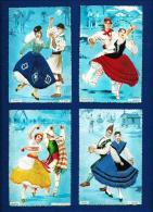 LOTE (4 Postales Antiguas Bordadas En Hilo)  España - Colecciones
