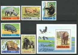 222 LIBERIA 1976 - Yvert 718/23 BF 81 - Rhinoceros Singe Leopard ... - Neuf ** (MNH) Sans Trace De Charniere - Liberia
