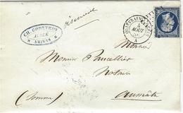 """1856- Lettre D'Amiens ( Somme ) Cad Amb. QUIEVRAIN A PARIS  / A Affr. N°14 Oblit. Los. C P  + """" Oisemont """" Manuscrit - Poststempel (Briefe)"""
