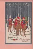 OLD POSTCARD -  ARTIST SIGNED MARIE FLATSCHER - MERRY CHRISTMAS - FAIRY GIRLS RIDING A DEER - ED. WENAU DELILA - Illustratori & Fotografie