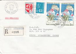 Env Reco Affr Y&T 1468 + 1663 + 1794 X 2 Obl DRUSENHEIM Du 15.10.1976 Adressée à Strasbourg - Marcophilie (Lettres)