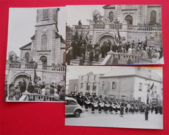 Cérémonie Militaire Inauguration 12 Carte-photos Ou Photos A Localiser Eglise Monument Pyramide Musique VIP - Cartes Postales