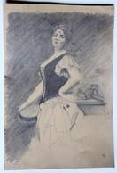 Ancien Dessin Crayon Fusain Beau Portrait Femme épée - Drawings