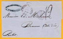 1859 - Enveloppe De Saint Pierre, Martinique Vers Beaune, Côte D'Or Par Packet Anglais - Entrée Calais - Taxée 12 - Postmark Collection (Covers)