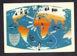 CPSM GROENLAND - TB PLAN CARTE Géographique - CP Publicité IONYL - Timbres GROËNLAND - TB Oblitération Verso - Groenland