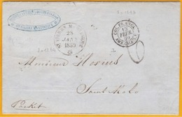 1859 - Enveloppe De Saint Pierre, Martinique Vers Saint Malo Par Packet Anglais - Entrée Calais - Taxée 6 - Postmark Collection (Covers)