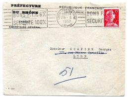 RHONE - Dépt N° 69 = LYON PREFECTURE 1957 = FLAMME RBV' BONS PTT 6% = SECURITE 100% ' - Oblitérations Mécaniques (flammes)