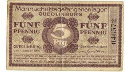 5 FàoeNF PFENNIG PRIGIONIERI DI GUERRA WWI QUEDLINBURG 01/01/1916 MB/BB - [ 1] …-1946 : Royaume