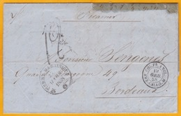 1858 - LAC De Saint Pierre, Martinique Vers Bordeaux Par Packet Anglais - Entrée Calais - Taxée 12 - Postmark Collection (Covers)