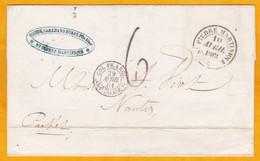 1861 Martinique - France - LAC De Saint Pierre Vers Nantes  Par Packet - Entrée Par Calais - Taxée 6 Décimes - Transit à - Postmark Collection (Covers)