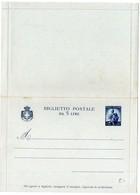 Italie : Entier Postal (carte-lettre) Biglietto Postale Da 5 Lire - 1946-.. République