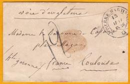 1856 - Enveloppe De Saint Pierre,  Martinique Vers Toulouse - Voie D 'Angleterre - Entrée Par Calais - Cad  Transit - Postmark Collection (Covers)