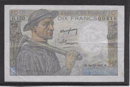 France 10 Francs Mineur 30-10-1947 - Fayette N°8-18 - TTB - 1871-1952 Anciens Francs Circulés Au XXème