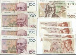 Lot De Billets Belges,1x1000,4x100 Et 4x50 Francs Aynat Circulé - [ 2] 1831-... : Belgian Kingdom