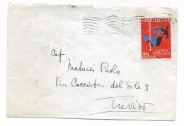 LIRE 25 X ANNUALE PREMIO D'ITALIA   1959  SU LETTERA - - 1946-60: Usati