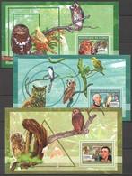 Z1275 2006 DE GUINEE FAUNA BIRDS AUDUBON LEVAILLANT BUFFON OWLS 3BL MNH - Owls