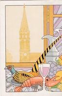 """CPM 10X15. ST CLOUD (92) PUB Traiteur FOURNIER . Illust. Bernard PRADIGNAC +Cachet """" Flânerie St Cloud 13-14 Déc.1990"""" - Hotels & Restaurants"""