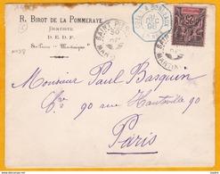 1896 - Enveloppe De Saint Pierre, Martinique Vers Paris Par Ligne Maritime Colon à Bordeaux - YT 38 - Postmark Collection (Covers)