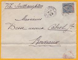1900 - Martinique - Enveloppe De Saint Pierre Vers Bordeaux Par Southampton, Voie Anglaise - Affrt 15 Cent - Postmark Collection (Covers)