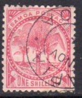 Samoa 1886-1900 1/- Rose-carmine 'Palm Trees', Perf. 12x11½, 4 Mm Wmk., Used, SG 39 - Samoa
