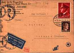 87179) GERMANIA - -lettera Aerea Con 12+38d.compleanno Hitler+10d. Da Danzica A Catania Il 18/8/1942-bolli+censura - Lettres & Documents