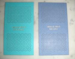 """Lot De 2 Cartes Armani Privé """"bleu Turquoise"""" Et Bleu """"lazuli"""" - Modernes (à Partir De 1961)"""